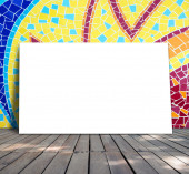 Poster standing on mosaic tile for information message — Stock Photo
