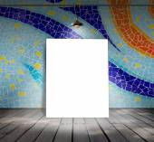 Poster standing on mosaic tile with Ceiling lamp for information message — Stock Photo