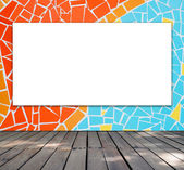 Blank frame on mosaic tile for information message — Stock Photo