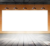 Blank frame on brick wall and wood floor for information message — Foto de Stock