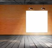 Blank frame on brick wall and wood floor for information message — Stockfoto