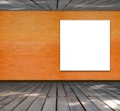 Blank frame on brick wall and wood floor for information message — Stock fotografie