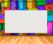 Blank frame on Colorful Box wall for information message — Stock Photo
