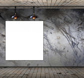 Blank frame on Grungy concrete wall with floor tile — Stock Photo