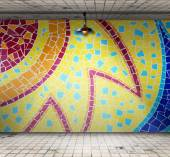 Lamp in Empty room with Colorful mosaic tile, Template for product display — ストック写真