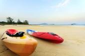 Kayaks on tropical beach. — Stock Photo