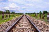 Railway in the cloudy season — Stock Photo