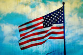 Abstract American flag waving on flagpole — Stock Photo