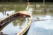 Old abandoned fishing wood boat — Fotografia Stock