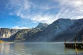 Wooden pier in Salzkammergut Lakes, Austria — Stock Photo