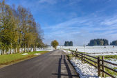 Cold winter day at countryside. Road and wooden fence. — Stock Photo