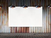 Blank frame with Ceiling lamp in Dirty tile room — Stock Photo