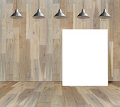 Blank frame on wood wall with Ceiling lamp — Stock Photo