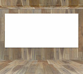Blank frame in wood room for information message — Stock Photo