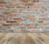 Brick wall on wood floor Room interior modern style — Stock Photo