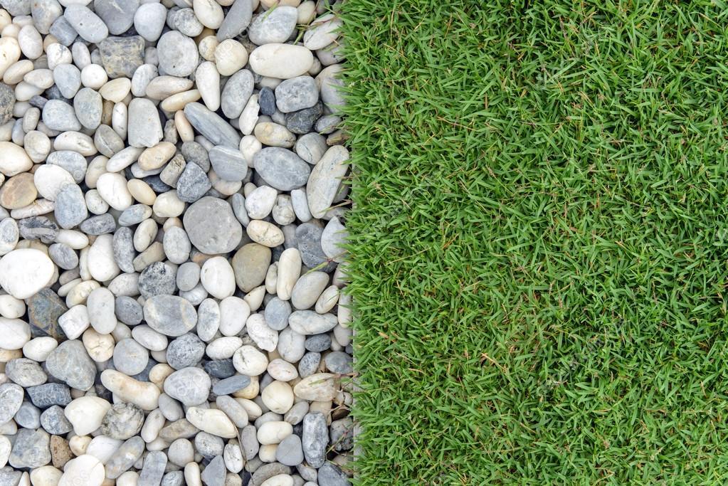 Trädgård Grus : Gröna gräset med grus sten och gräs i trädgården
