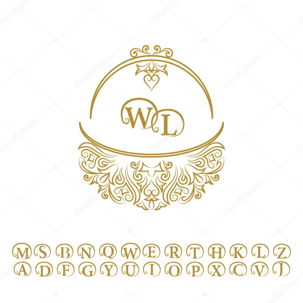 vintage monogram abstract logo alphabet letter emblem w