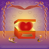 Heart in a box as a gift — Stock Vector