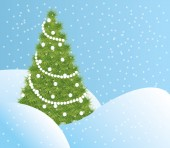 Green Christmas tree in the snow — 图库矢量图片