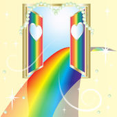 Rainbow road of love, an open door — Stock Vector