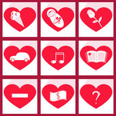 Set of icons heart — Vettoriale Stock