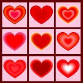 Set of icons heart. Vector illustration — Vetor de Stock