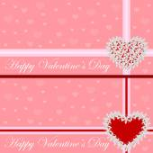 Gratulationskort - hjärta av blommor. Alla hjärtans dag. Vektor illustration — Stockvektor