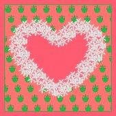 Heart of flowers on the wallpaper . Vector illustration — Cтоковый вектор