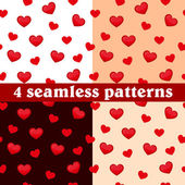 Set of seamless patterns hearts. Vector illustration — Stock Vector