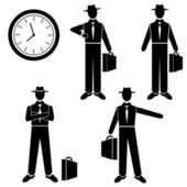 Silhouette of a Businessman waiting for - vector set. Vector illustration — Stock Vector