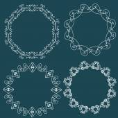Vintage Decor - design elements, thin line - vector set. Vector illustration — Stock Vector