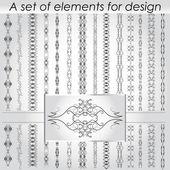 Calligraphic design elements - vector set.  Vector illustration — Stock Vector