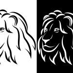 Lion head. Black and white silhouette. Logo. Vector illustration — Stock Vector #68582223