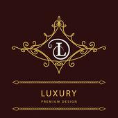 Monogram design elements, graceful template. Elegant line art logo design. Letter L. Emblem. Vector illustration — Stock Vector
