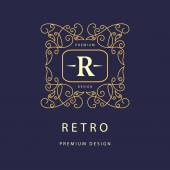 Monogram design elements, graceful template. Elegant line art logo design. Business sign, identity for Restaurant, Royalty, Boutique, Cafe, Hotel, Heraldic, Jewelry, Fashion, Wine. Vector illustration — Stock Vector