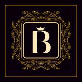 Monogram design elements, graceful template. Elegant line art logo design. Letter B. Business sign, identity for Restaurant, Royalty, Boutique, Cafe, Hotel, Heraldic, Jewelry, Fashion, Wine. Vector — Vettoriale Stock