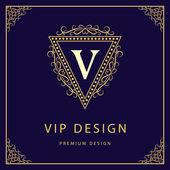 Monogram design elements, graceful template. Calligraphic elegant line art logo design. Letter V. Business sign for Royalty, Boutique, Cafe, Hotel, Heraldic, Jewelry, Wine. Vector illustration — Wektor stockowy