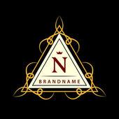 Monogram design elements, graceful template. Calligraphic elegant line art logo design. Letter N. Business sign for Royalty, Boutique, Cafe, Hotel, Heraldic, Jewelry, Wine. Vector illustration — Stock Vector