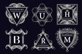 Monogram design elements, graceful template. Calligraphic elegant line art logo design. Emblem Letters. Business sign for Royalty, Boutique, Cafe, Hotel, Heraldic, Jewelry, Wine. Vector illustration — Wektor stockowy