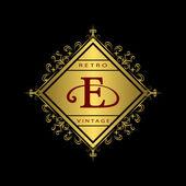Monogram design elements, graceful template. Calligraphic elegant line art logo design. Gold emblem E. Business sign for Royalty, Boutique, Cafe, Hotel, Heraldic, Jewelry, Wine. Vector illustration — Stock Vector