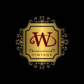 Monogram design elements, graceful template. Calligraphic elegant line art logo design. Gold emblem W. Business sign for Royalty, Boutique, Cafe, Hotel, Heraldic, Jewelry, Wine. Vector illustration — Stock Vector