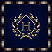 会标的设计元素,优雅的模板。书法的优雅线条艺术标志设计。信会徽 H.业务标志为版税、 精品、 咖啡厅、 酒店、 Heraldic、 珠宝、 葡萄酒。矢量图 — 图库矢量图片