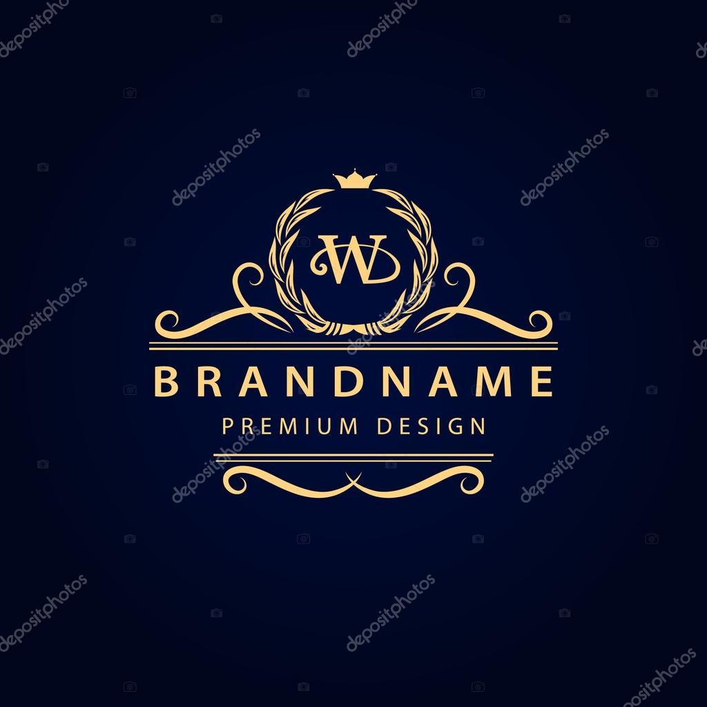 Vector illustration of Monogram design elements, graceful template. Calligraphic elegant line art logo design. Letter emblem W for Royalty, business card,
