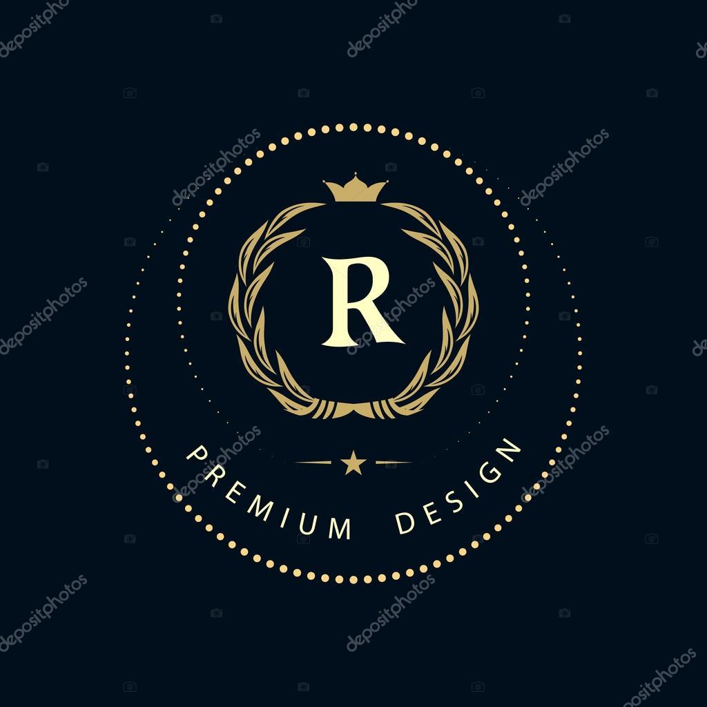 Illustration vectorielle des éléments de conception Monogram, modèle gracieux. Création de logo dart calligraphique ligne élégante.