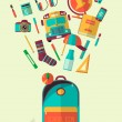 ������, ������: Vector school workspace illustration Education and school icons set Flat style long shadows High school object college items Back to school Creative banner card with flying teenager objects