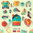 Постер, плакат: School workspace Set of school icons in flat style with long shadows Vector collection of high school object college education items with educational elements Back to school Interests teenager