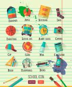 Vector school workspace illustration on line notebook paper. Education school icons set. Flat style, long shadows. High school object college items. Back to school creative  card with teenager objects — Vetorial Stock