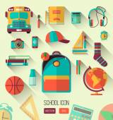 School workspace. Set of school icons in flat style with long shadows. Vector collection of high school object, college education items with educational elements. Back to school. Interests teenager — Stock Vector