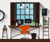 Vector flat illustration workplace in loft interior. Desk concept. Modern design of creative office workspace. Icon collection of business work flow items and elements. Freelancers workplace at home. — Vecteur