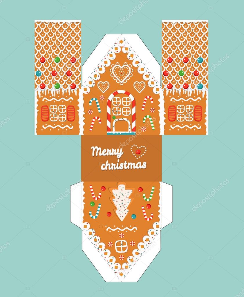 Printable gift gingerbread house with christmas glaze ...